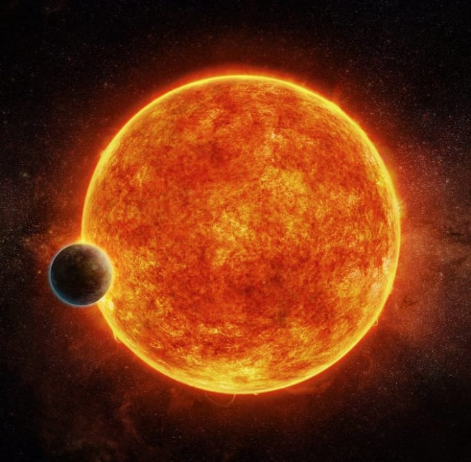 Another artist's conception of LHS 1140b orbiting its star. Image Credit: M. Weiss/CfA