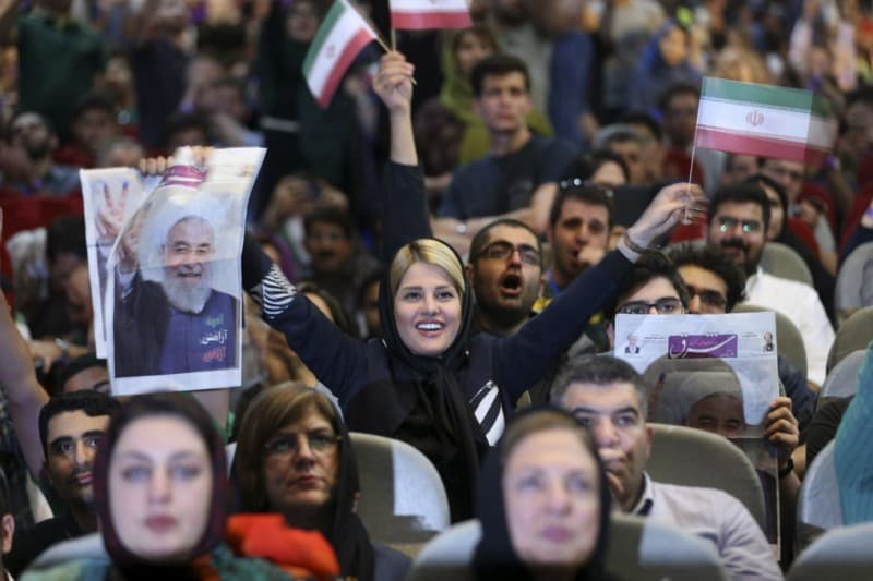 Supporters of Iranian President Hassan Rouhani at a rally in Tehran on April, 29. (Vahid Salemi/Associated Press)