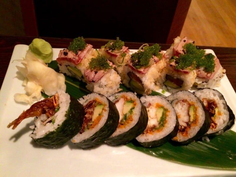 Soft Shell Crab Sushi Roll and Crunchy Tuna Sushi Roll from Sasa Sushi, London. Photo: Gareth Johnson