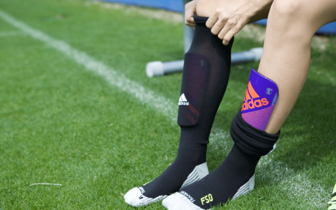 Slip-in soccer shin guards are one of the most popular methods of shin  protection b870730dbbfb