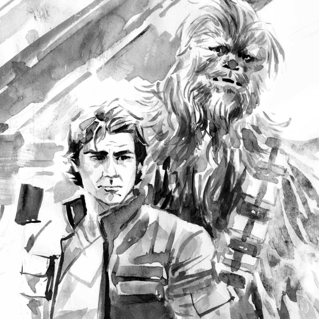 32419e980 This talented, traditional comic artist gives classic Star Wars characters  the graphic novel treatment in a series of stunning watercolor illustrations .