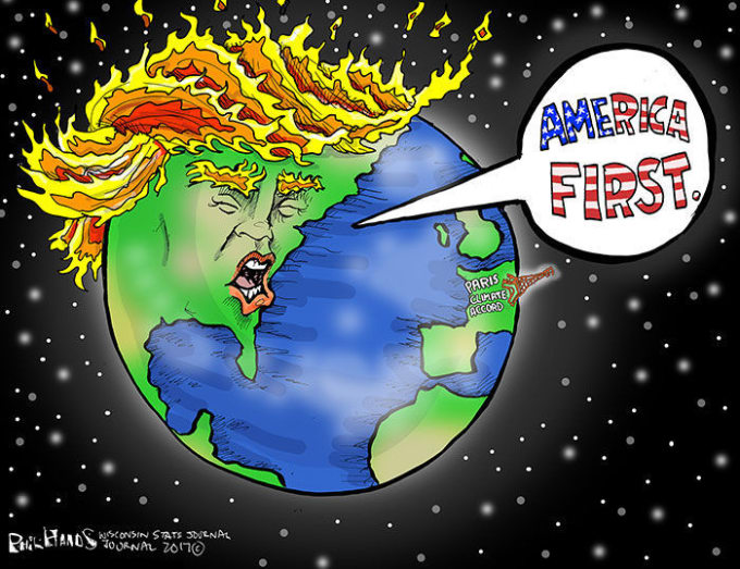 Short Sighted Decision To Pull Us Out Of The Para Climate Accord Became Inspiration Behind One Funniest Trump Political Cartoons From 2017