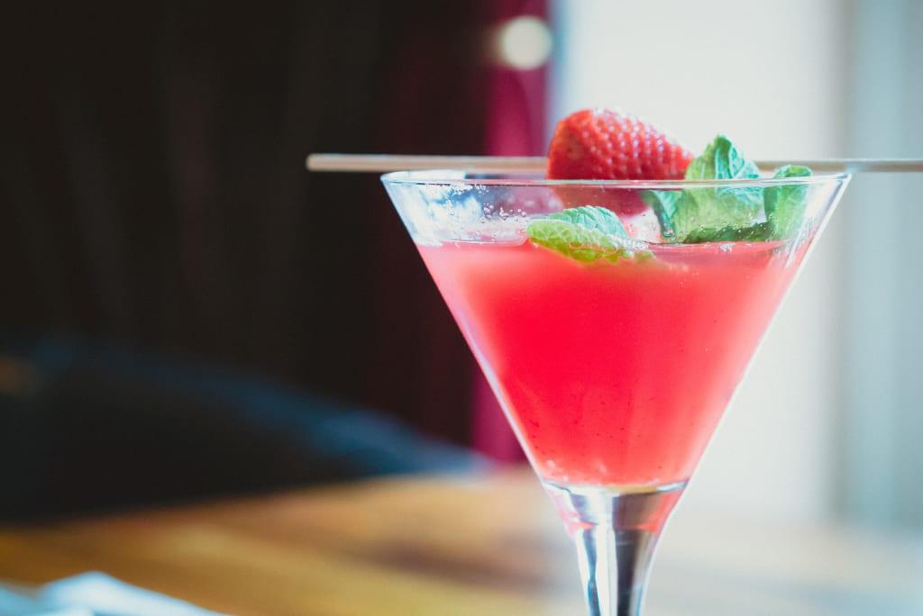 Skinny Strawberry Basil Martini