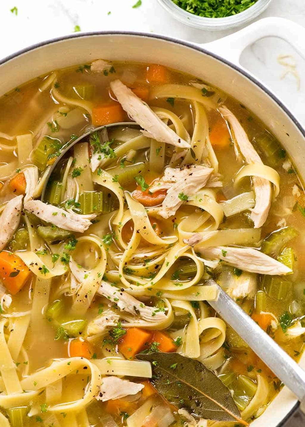 Homemade Chicken Noodle Soup and Vegetables with Ham and Orange Salad !
