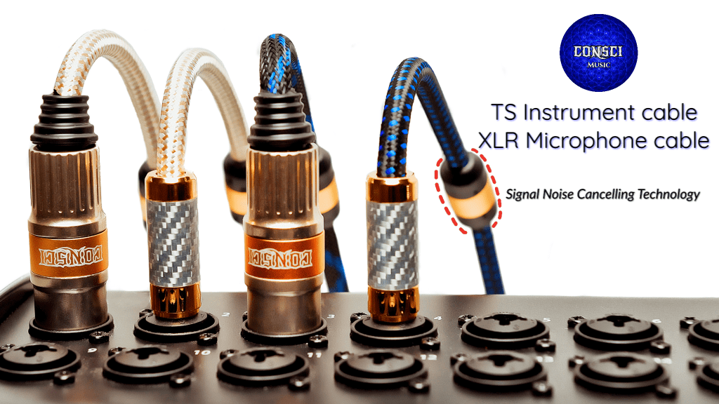 Consci Music Cables, TS Instrument and XLR Microphone Cables, with Noise Cancelling Tech