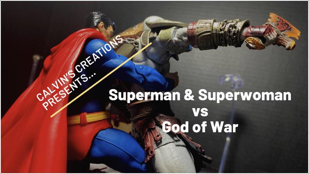 Superman and Superwoman vs Kratos: God of War.