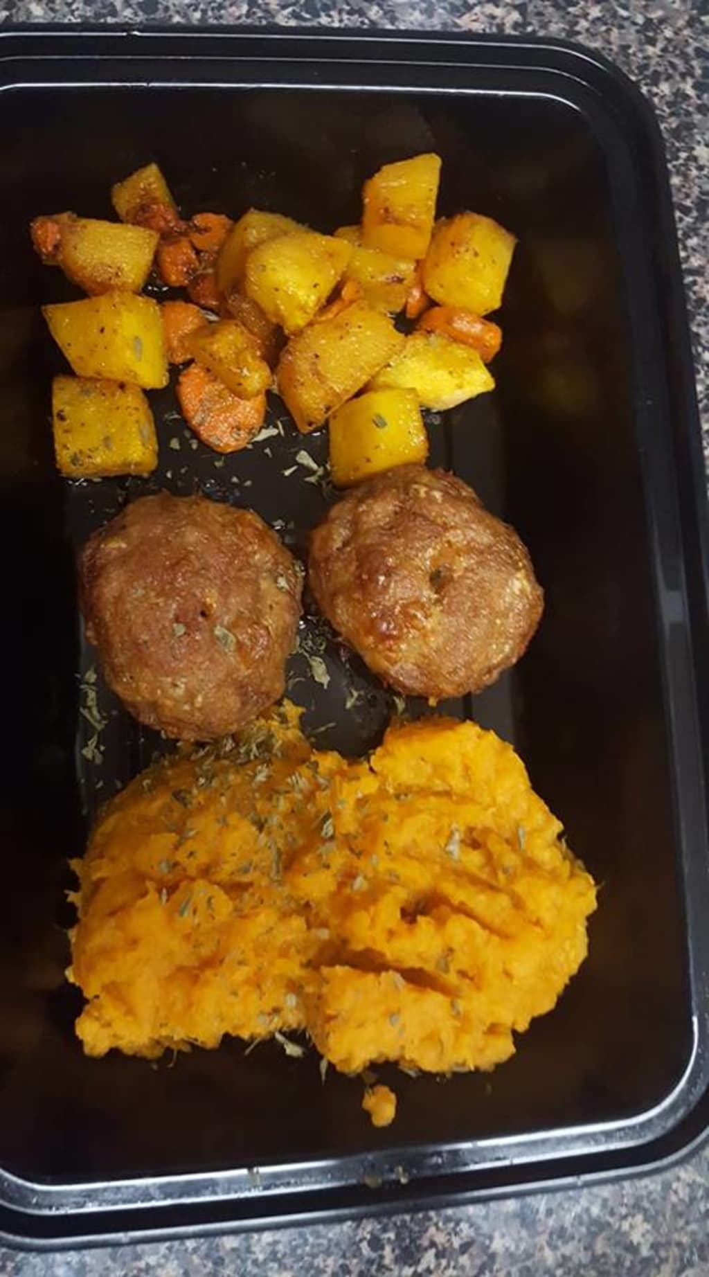 Turkey Cups with Sweet Potato Mash with Roasted Veggies