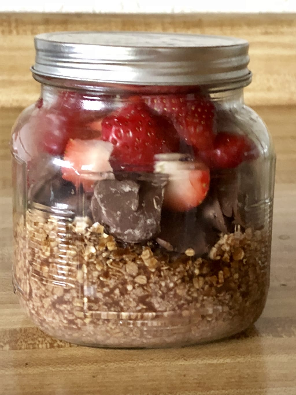 Strawberries and Chocolate Milk Overnight Oats