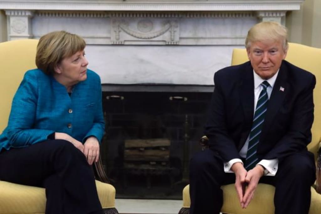 President Trump Snubs Chancellor Merkel At Photo Op