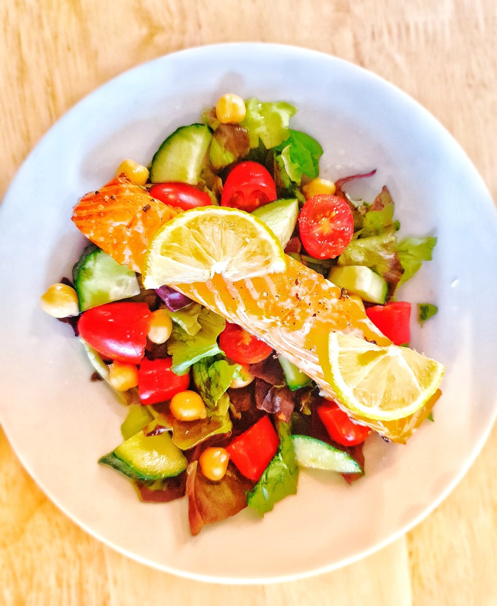 High Protein Salad with Salmon