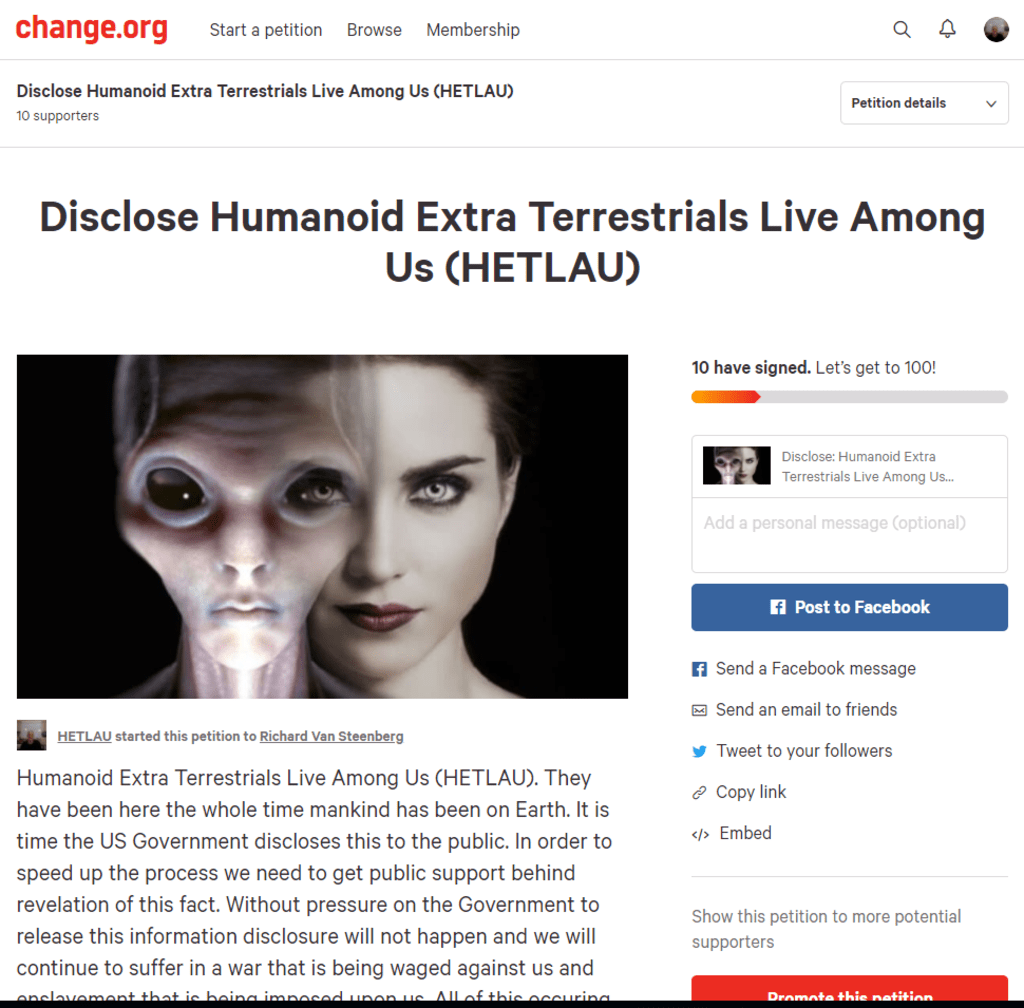 Extraterrestrial Disclosure Petition