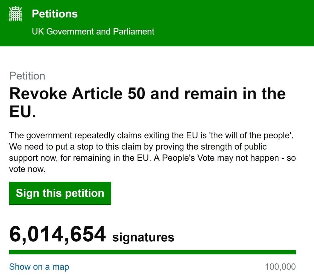 Brexit: Article 50 Petition Calling for Brexit to Be Cancelled Reaches 6 Million Signatures Ahead of Parliament Debate