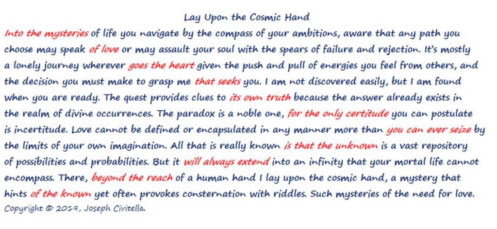 Lay Upon the Cosmic Hand