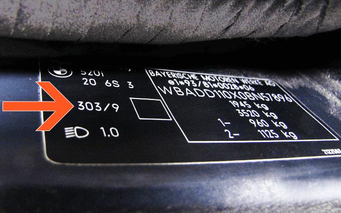 Färgkod på en BMW