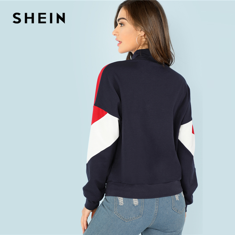 4b0eaaa052712 SHEIN Multicolor Minimalist O-Ring Zip Front Cut And Sew Stand Neck Raglan  Sleeve Sweatshirt Autumn Women Casual Pullovers. 🔍. Previous