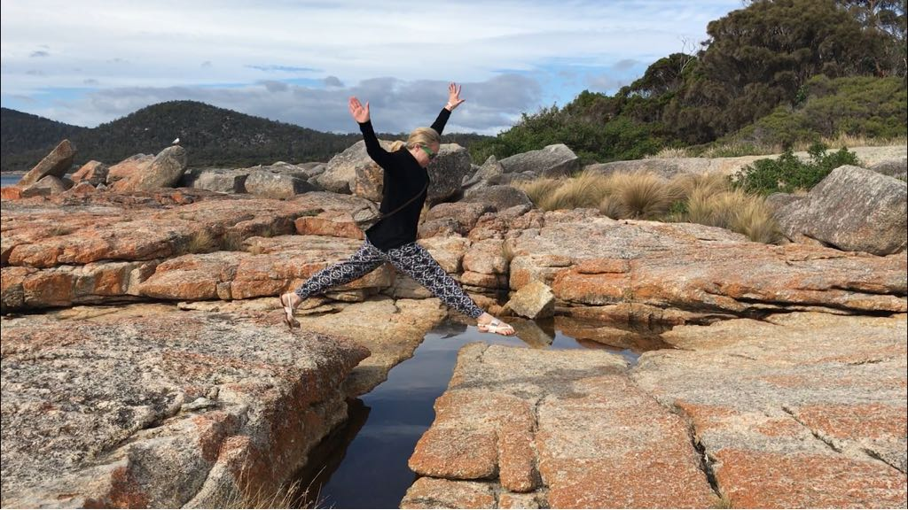 photo of me leaping in Bicheno