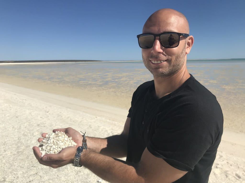 photo of daniel at Shell beach, western australia