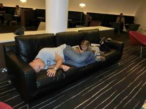 Qantas Melbourne Lounge Sleeping