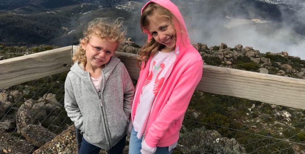 photo of girls on top of Mount Wellington, Tasmania