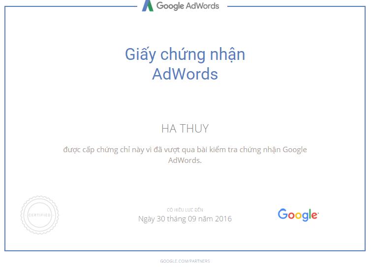 chứng chỉ quảng cáo google adwords của Hà Thuý