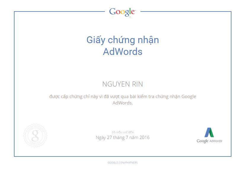 chứng chỉ quảng cáo adwords của Rin