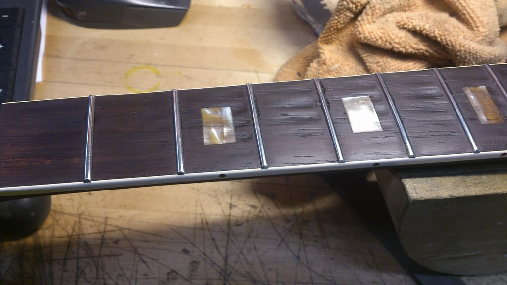 ..so the frets are all in and just awaiting their final polish