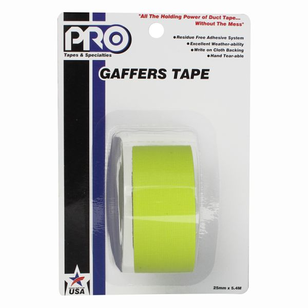 PRO GAFF 2 X 6YARDS POCKET TAPE - FL YELLOW