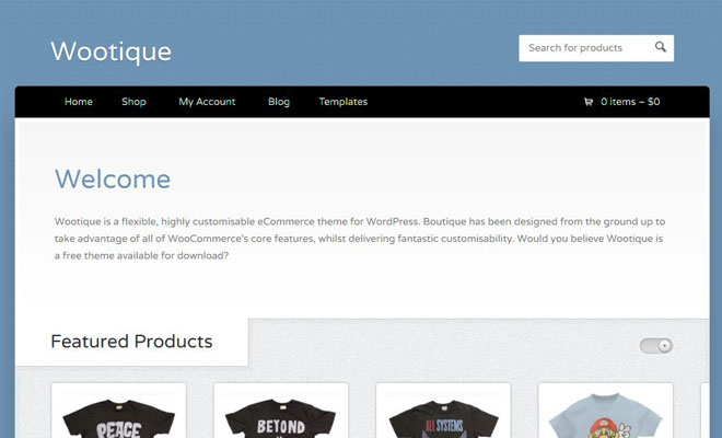 wootique - simple WooCommerce theme
