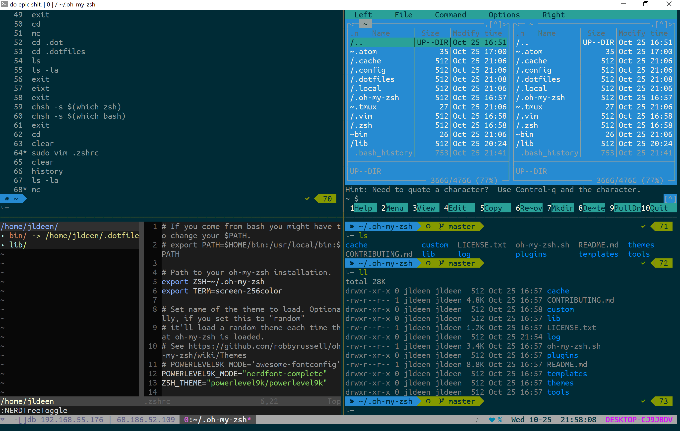 Badass Terminal: FCU WSL Edition (oh-my-zsh, powerlevel9k, tmux, and more!)