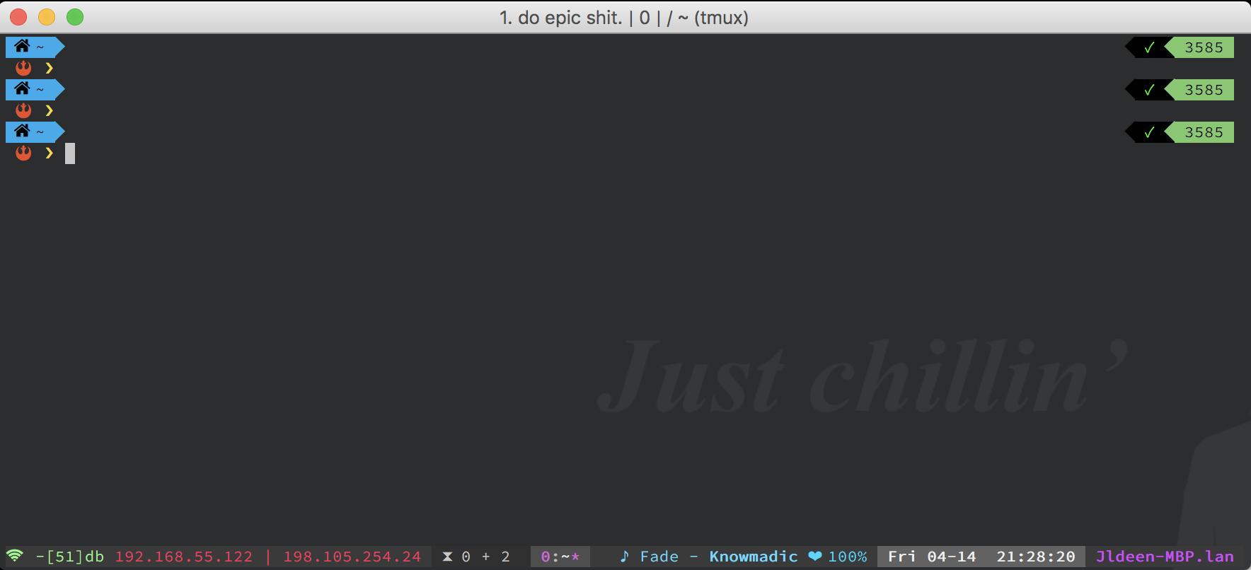 macOS ohmyzsh + tmux + vim + iTerm2 + Powerlevel9k = Badass terminal