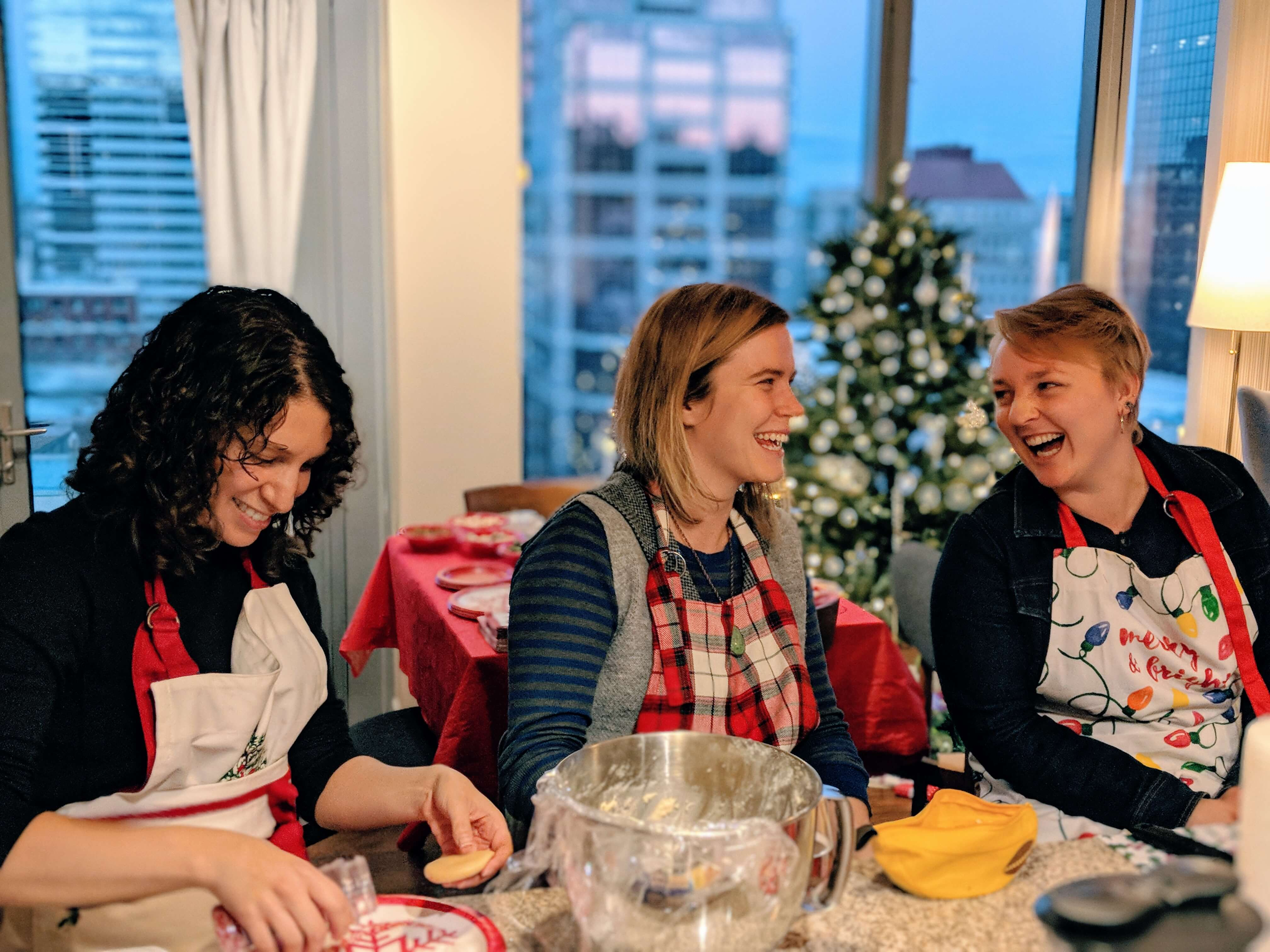 Marisa, Alli, and Aesch at a family baking day.
