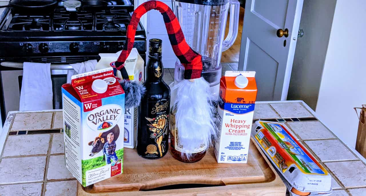 Ingredients for egg nog.