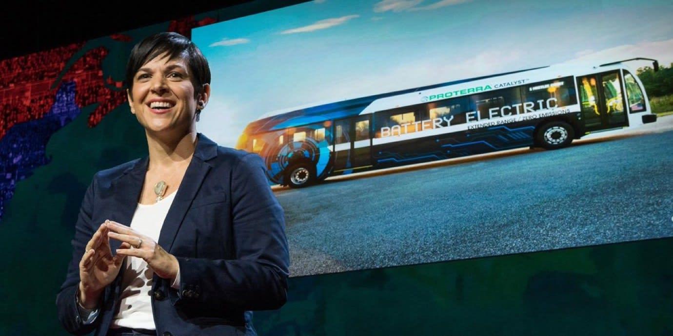 Monica Araya giving a TED Talk.