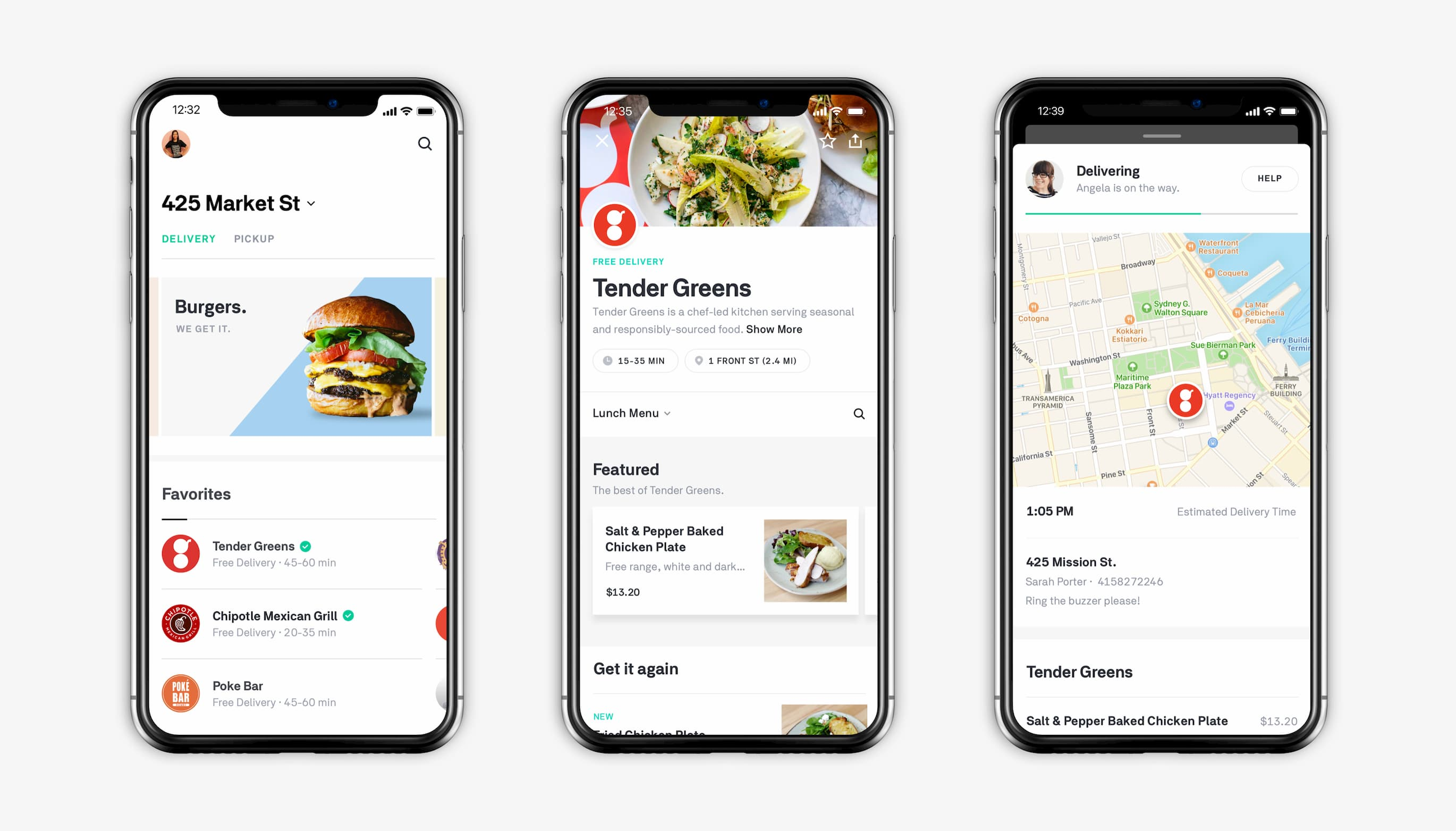 The workflow for ordering food on Postmates.