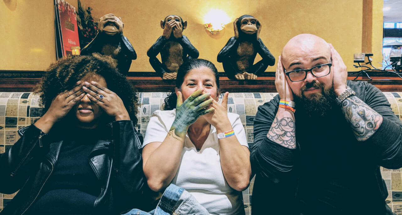 Sharon Steed, Estelle Weyl, and Jason Lengstorf doing see no evil, speak no evil, hear no evil.