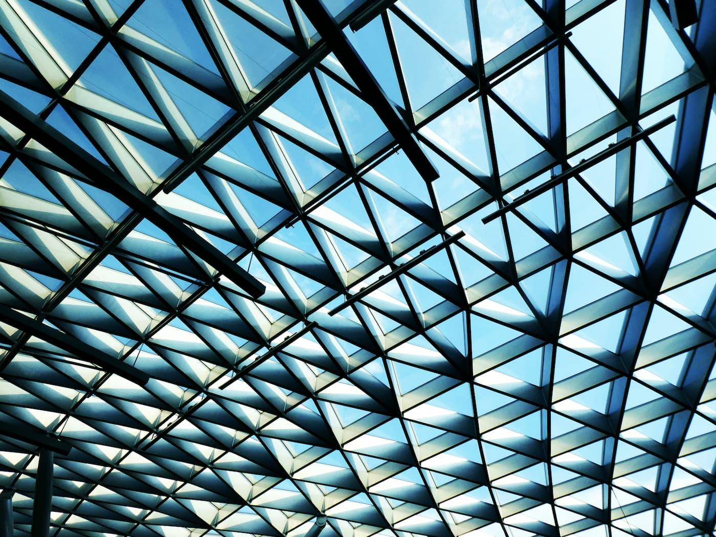 A large, geometric skylight.