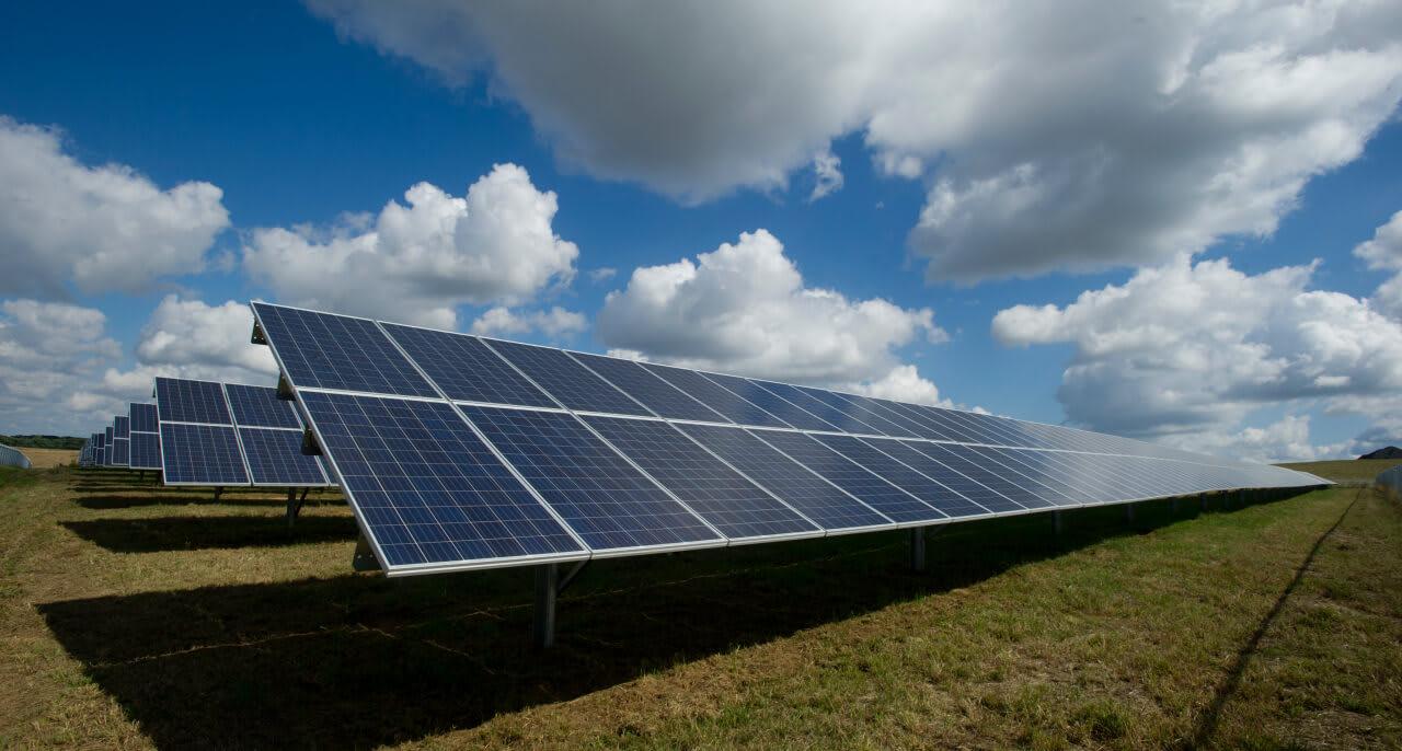 Solar panels in the sunshine.
