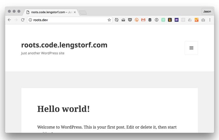 The local instance of our WordPress site.
