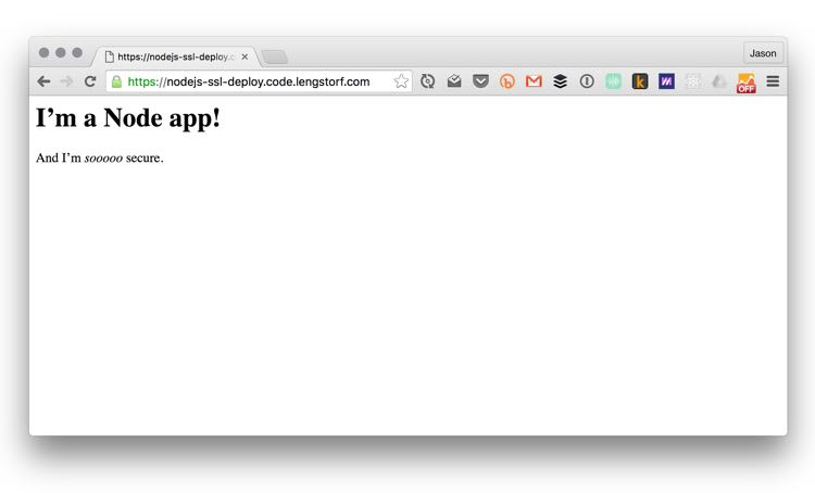 Working app with green SSL verification in the address bar.