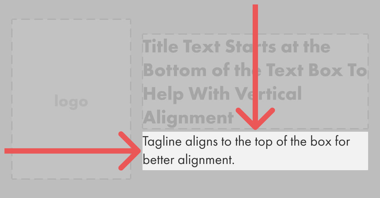 Arrows showing the alignment of the tagline area.