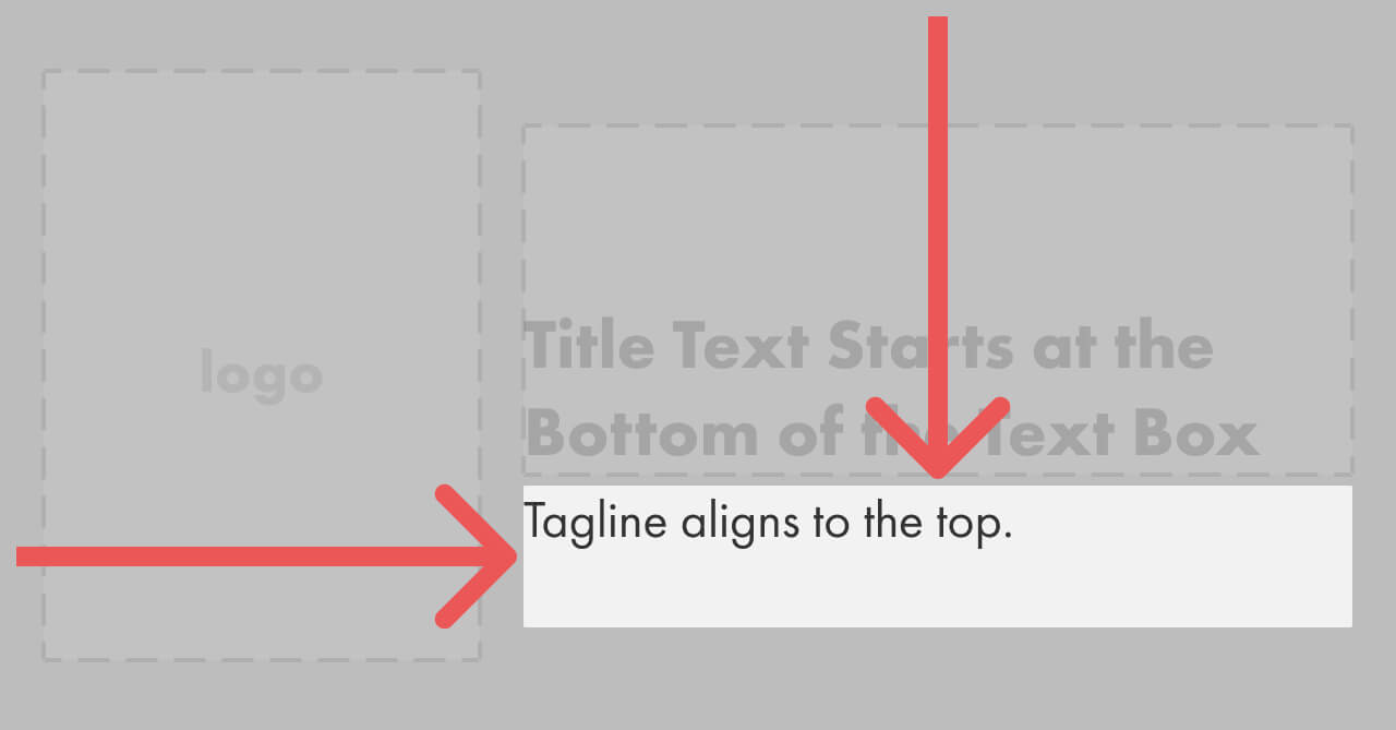 Arrows showing the aligment of the tagline area with a shorter tagline.