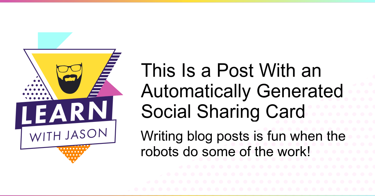 The social sharing card with the defined title and tagline using default settings.