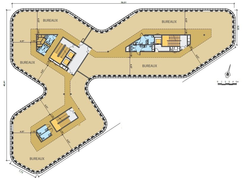 Bureaux à louer à MASSY 91300 - BRIO plan d'étage 2