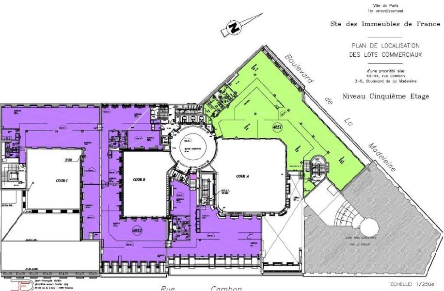 Bureaux à louer à PARIS 75001 - 3-5 BOULEVARD DE LA MADELEINE plan d'étage 1
