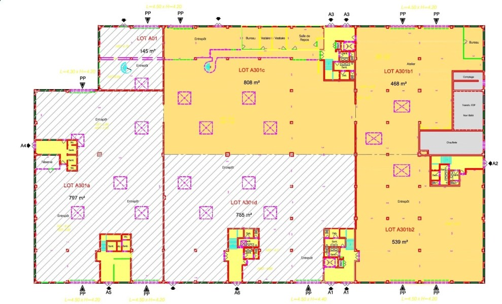 Bureaux à louer à VERRIERES LE BUISSON 91370 - ACTIPARC - BÂTIMENTS A ET B plan d'étage 1