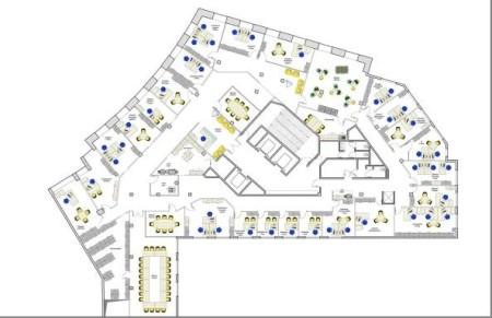 Bureaux à louer à PARIS 75014 - 10-18 PLACE DE CATALOGNE plan d'étage 2