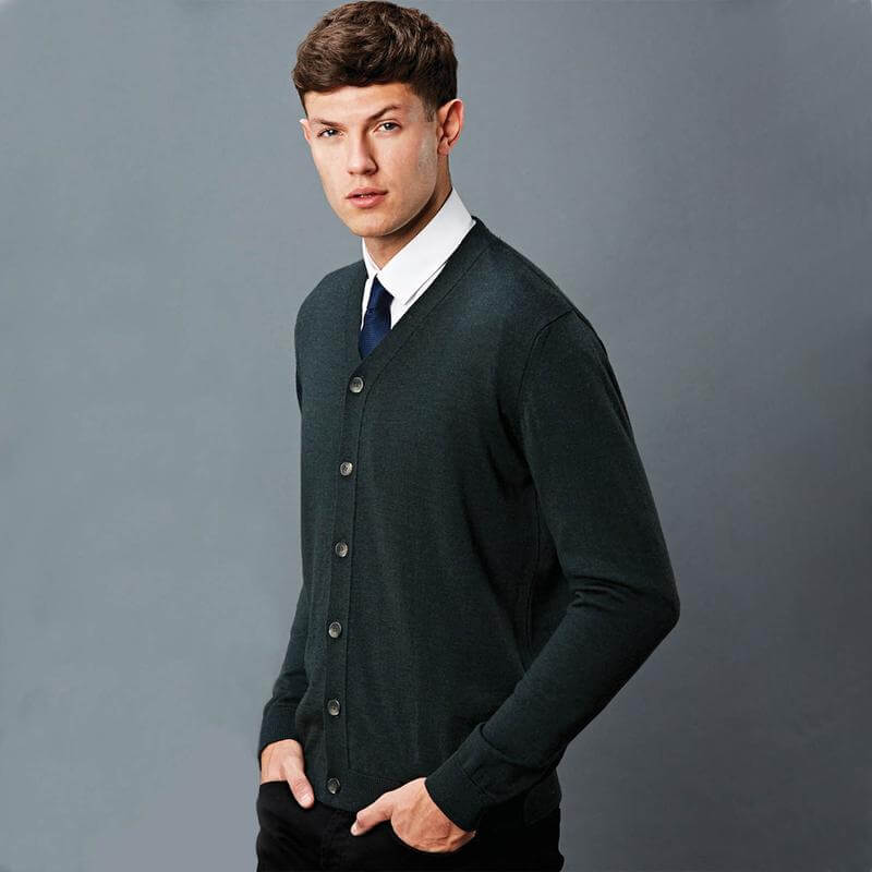 Merino mens navy blue full sleeve knitted cardigan manufacturer