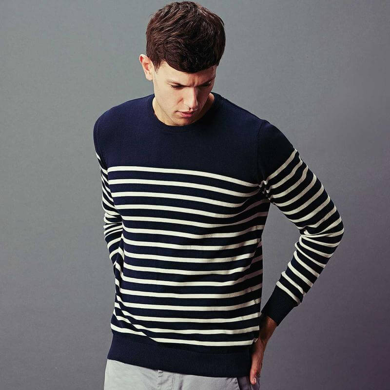 Navy blue breton striped cotton knitted pullover manufacturer