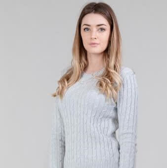 Silver grey ladies knitted cable jumper