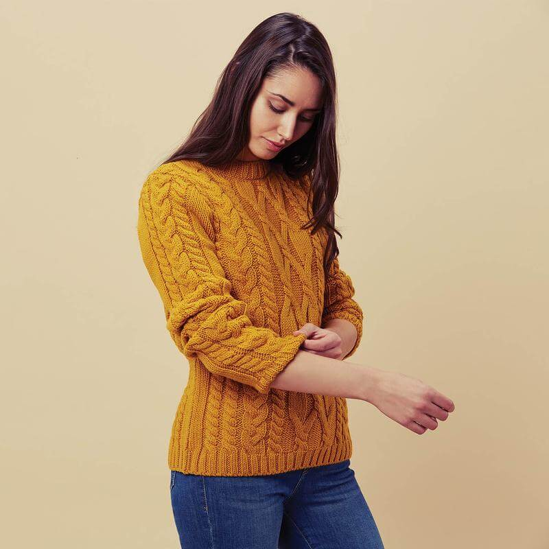 Womens mustured cable knitted jumpers manufacturer